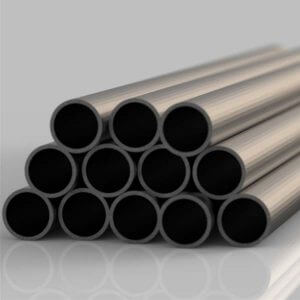 neatly stacked lengths of steel circular hollow section