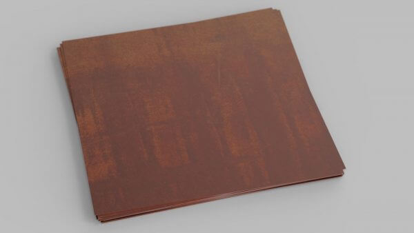 sheet of weathering steel with a red oxide layer