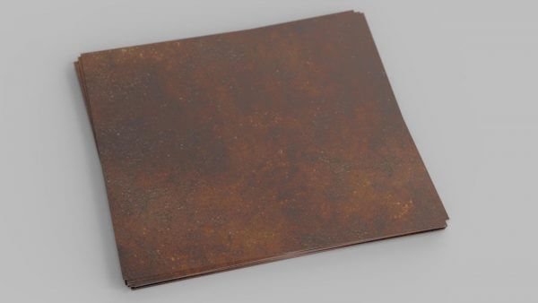 sheet of weathering steel with a heavy patina
