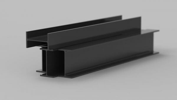 steel beam in a standard black RAL powder coat finish