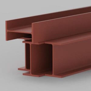 steel beam with a red oxide primer finish