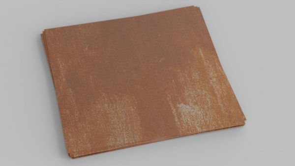 a sheet of Corten weathering steel, often used for architectural finishes