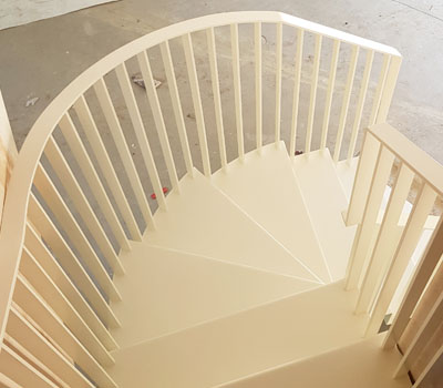 Spiral steel staircases and balustrades