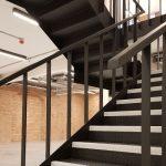 Modern, industrial steel staircase in refurbished office